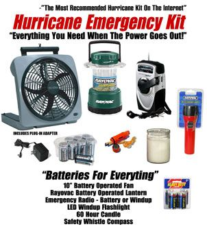 """This """"Hurricane Emergency Kit"""" has everything you will need for when the power goes out. We used only the best products in each category. Everything is neatly pre-packed and ready for immediate use. This hurricane kit is designed to keep you comfortable and safe for when the power goes out. It includes and large 10"""" O2 Cool battery operated fan (the most powerful fan we carry), a Rayovac indoor/outdoor battery powered lantern (long lasting and water resistant), an emergency AM/FM weather band ra"""