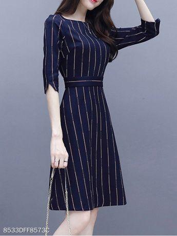 Round Neck Printed Striped Skater Dress - berrylook.com
