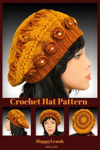 b0a159de0a3 Crochet hat pattern hat with flower crochet beanie pattern how to crochet  beanie hat tutorial beret
