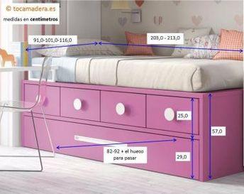 Compacta con cama nido con tirador empotrado y cuatro contenedores