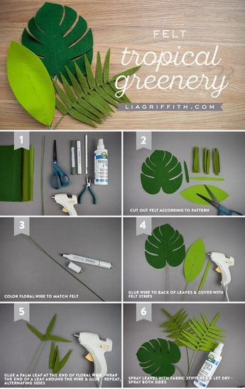 You're in the Jungle, Baby: Felt Tropical Leaves & Greenery