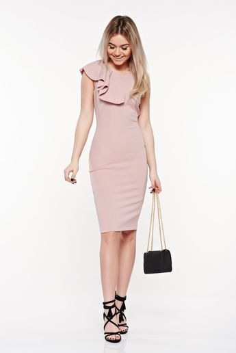 677b4cf7a1 StarShinerS rosa elegant pencil dress from elastic and fine fabric with  ruffles on the chest