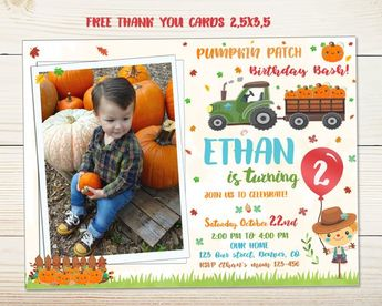 Pumpkin Patch Birthday Invitation First Fall Festival Flyer Harvest Party