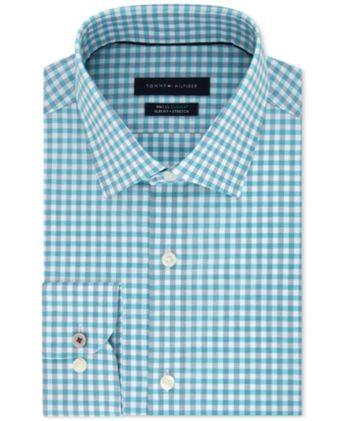 521a4a18 Tommy Hilfiger Men's Slim-Fit Th Flex Non-Iron Supima Stretch Aqua Gingham  Dress