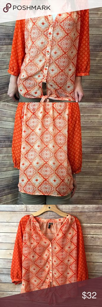 3babf866 Kut from the Kloth Sheer Orange Blouse Size M Gorgeous sheer blouse with a  gold accent