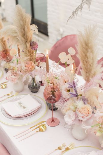 Pampas Grass Accents | Pretty Pink Tablescape Design | Photo by Chris & Becca Photography