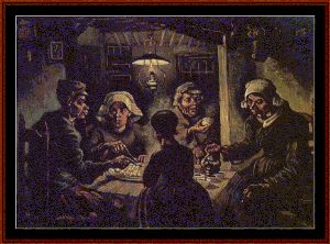 The Potato Eaters - Van Gogh Cross Stitch Pattern By Cross Stitch Collectibles