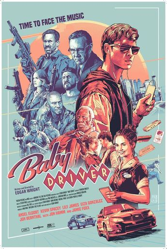 BABY DRIVER BY AURELIO LORENZO SCREEN PRINT 24X36 LIMITED EDITION NUMBERED