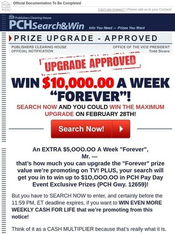 Image result for 10000 a week for life sweepstakes pch