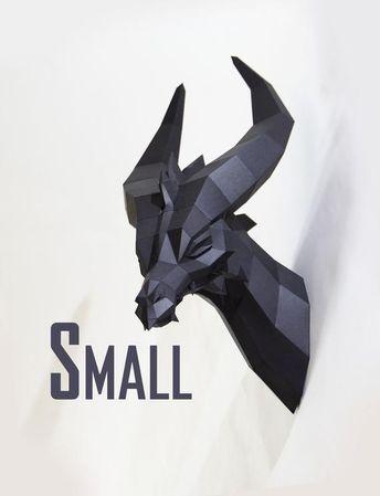 Kleiner Schwarzer Drache SMALL - PREMIUM Bastelbogen, Fantasie Tier Polygonal Geometrisch Bastelset DIY Trophäe