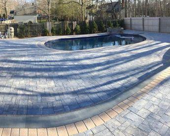 Cambridge Pavers Montauk Blue Ledgestone Pool Patio Mille