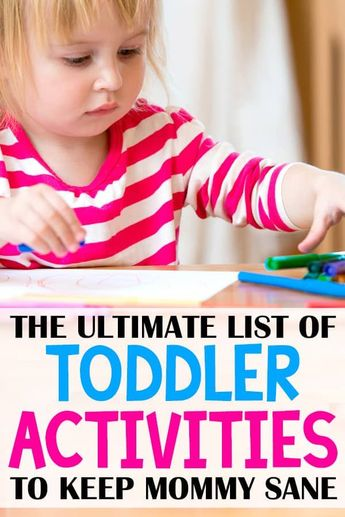 toddler activities to keep kids busy - and keep mommy sane! It can be hard to find fun indoor activities for toddlers, but here's a great list!