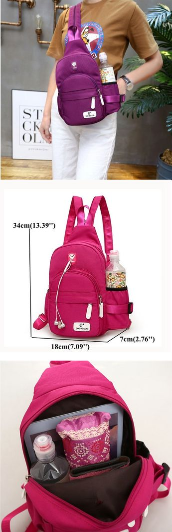 US$14.68 Casual Nylon Lightweight Outdoor Travel Chest Bag Shoulder Bag Backpack For Women