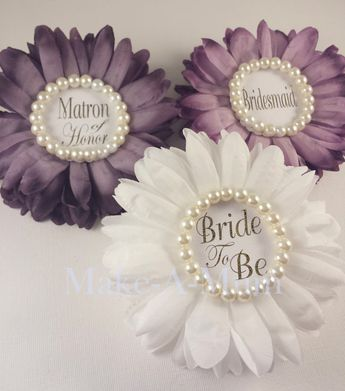 4 hand dyed plum corsage bridal shower corsage bridal shower favors