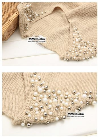 sweater decoration with beads and pearls