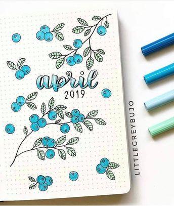 bullet journal by @littlegreybujo | bullet journal cover design idea | April bujo | monthly bullet journal inspiration
