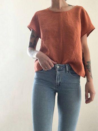 TERRA Linen Boxy Top, Round Neck, 100% Flax Linen, Women's Tee Shirt Made to Order