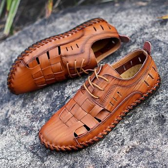 Daily Leisure Hollow Breathable Leather Men's Sandals