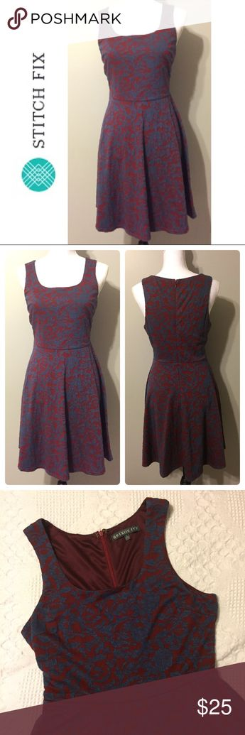 3da51a61c45 Lex Textured Floral Knit Fit and Flare Dress Burgundy and Blue textured  floral dress by Brixon