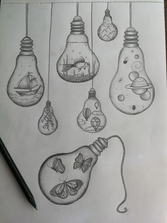 Light bulb drawings - -