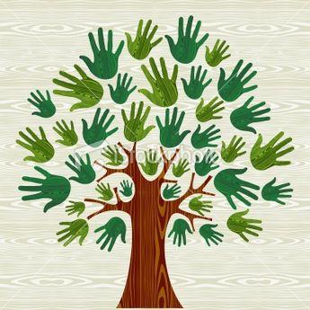 Environmental conservation tree hands illustration wooden background....