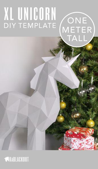 XL Unicorn Template, PDF Printable Unicorn Pattern, DIY Low Poly Papercraft Unicorn - Instant Download