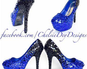 912e1aaa6c4d Glitter High Heels - Ombre Pumps - Platform Prom Shoes - Royal Blue Aqua  Turquoise Teal