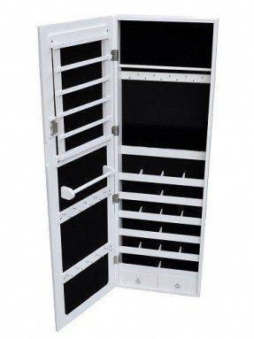 White Mirrored Jewelry Cabinet Armoire Organizer Storage Wall Mount Jewelry Case $64.41 (save $16.10) #modernjewelryarmoiresilver