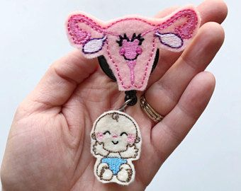 midwife gift, obgyn gift, Nurse badge reel, Uterus Badge re