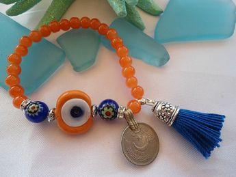 75c891ecf5a2 VENTA---Amuleto turco pulsera-Kuchi moneda - mal de ojo joyas-