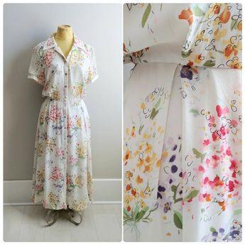 SILK Chiffon Flower Print Button Up Dress Summer
