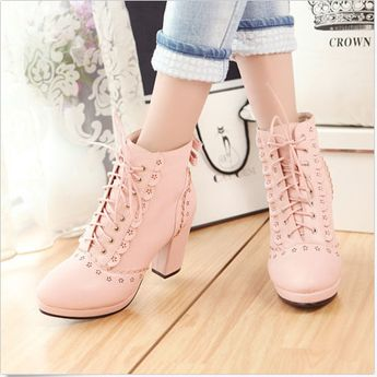 Details about 2017 Womens Platform High Block Heel Lace Up WIng Tip Ankle Boots Shoes Plus Sz