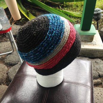 1848ae4c82351 Crochet hat, knit hat with spiral pattern and raised colors, mixed yarn hat,