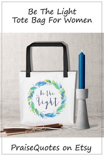 Tote Bag Be The Light Colorful Summer Shopping Grandmother Mom Birthday Gift