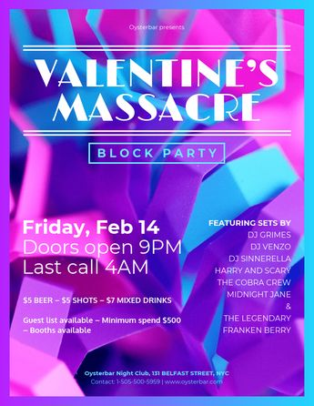 Block Party Valentine's Day Party Flyer Template Template