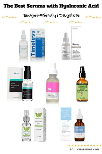 The Best Budget-Friendly Drugstore Serums with Hyaluronic Acid. Check out the links for the serums on our site #EyeSerumWrinkles