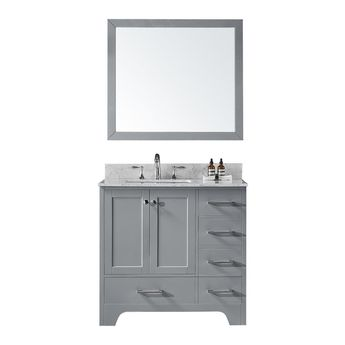 Exclusive Heritage 36 in. D Single Sink Bathroom Vanity in Taupe Grey with Vanity Top in Carrara White Marble and Mirror Set