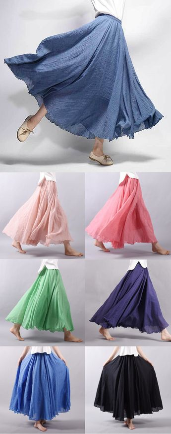 $34.99 USD 15 Colors Cotton&Linen Casual Solid Elastic A-line Skirts