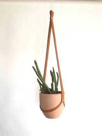 Eenvoudige stijl leder Plant Hanger met Pot