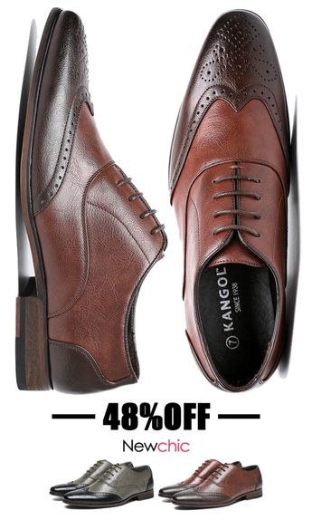 [48%OFF]Men Cap Toe Brogue Color Blocking Carved Oxfords Stylish Dress Shoes #style #brogue #shoes #dressshoes