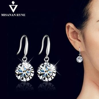 MISANANRYNE Silver Color Earrings for Women 7 Colors Crystal Long Drop  Earing Brincos Jewelry Pendientes Jewelry 6c22adef0d19