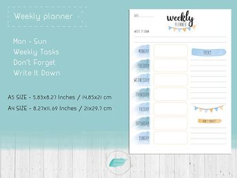 Weekly Printable Bullet Journal Planner Inserts, Instant Download