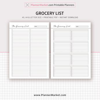Meal Planner, 2019 Menu Planner, Grocery List, A5, A4, Letter Size, Planner Refill, Planner Binder, Instant Download