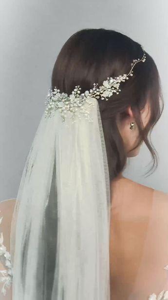 Cordelia Crystal Headpiece and Dewdrop Hairvine-hair accessories, wedding hairstyle, bridal look - Wedding