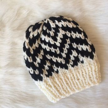 dfa53c85d7d950 Knitted Fair Isle Hat, Chunky Knit Slouchy Hat, Fair Isle Knitted Hat,  PomPom