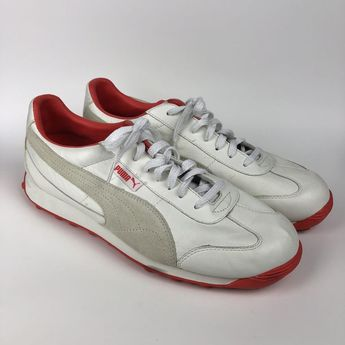 Mens Puma White Leather and Orange Shoes Size 11.5 #fashion #clothing #shoes #accessories #mensshoes #athleticshoes (ebay link)
