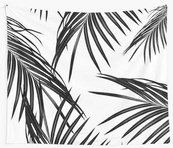 Black Palm Leaves Dream #1 #tropical #decor #art | Wall Tapestry
