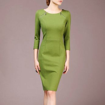 Green Dress Made to Size Elegant Women Dress Casual Dress Office Attire Custom Made  Material: 65% Viscose+30% nylon+5% Spandex  Color: as shown  Neckline: O neck; Silhouette: Sheath style; Decoration: Back zipper  Sleeve length: Three quarter sleeve    This dress is made to size. Please offer your