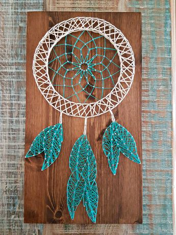 Dream Catcher constructed out of nails and thread. The size of this listing is 45 cm x 25 cm x 1.8 cm, and is ready to hang. You can customize the following (just mention what you want in the notes when checking out): 1- Image: country, name, letter, word, figure, etc. 2- Quote/ wording/