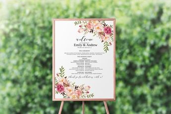 Blush Flowers Wedding Program Poster Template Large Ceremony Fully Editable